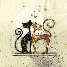 SERVIETTES EN PAPIER CHAT CHATS AMOUREUX. PAPER NAPKINS CAT CATS IN LOVE