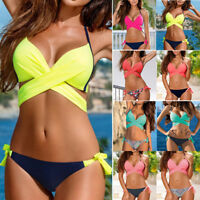 Women Padded Push Up Bra Bikini Sets Halterneck Bathing Suit Swimsuit Swimwear