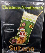 Vintage Sultana Jeweled Christmas Stocking Kit Jack In The Box Stamped Felt 1249