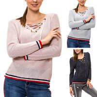 Hachiro Damen Strickpullover Lace-Up V-Neck Pullover Pulli Langarmshirt SALE %
