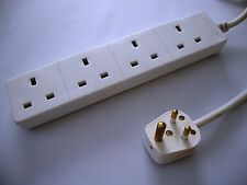 Indian plug to 4 way UK adaptor extension lead / cord (India)