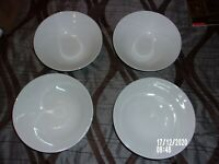 10 STRAWBERRY STREET LOT OF 4 WHITE CLASSIC BOWLS 7 INCH SOUP, SALAD, CEREAL