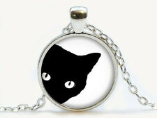 Vintage Peeping black cat Cabochon Tibetan silver Glass Chain Pendant Necklace