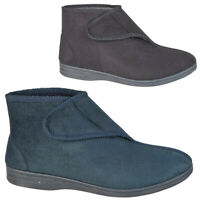 Mens Boots Faux Suede Leather Touch Strap Snuggle Shoes Sizes UK 7 8 9 10 11 12