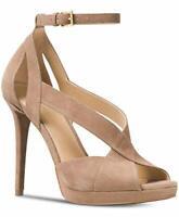 Michael Kors Womens Becky Suede Open Toe Ankle Strap, Dark Khaki, Size 10.0 B8c1
