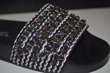 NIB CHANEL REV CC Logo Tweed Chain Mule Slides Sandal Flats Multi Color 36 -6