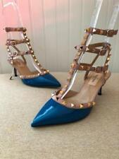 844bd3cea78 New Valentino Rockstud Blue Navy Patent Ankle Kitten Heel Shoes Size 35.5  US 5.5