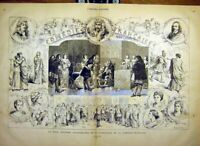 Original Old Antique Print Theatre French Comedy Anniversary Sketches 1880 19th