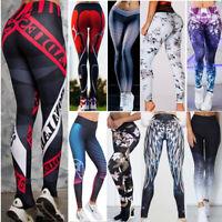 Women High Waist Sports Pants Yoga Fitness Leggings Running Floral Gym Trousers