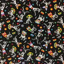 FT94 Day Of The Dead Puppy Dog Chihuahua Yorkie Doggie Cute Cotton Quilt Fabric