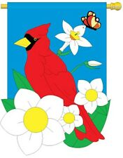 """(2) Cardinals & Blooms House Size (28"""" x 44"""" Approx) Flags..5....... TG 05018"""