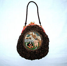 Beautiful Rare Unique Chinese Hand Made Handbag With Needlepoint Scene