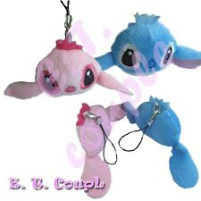 2PC Disney Lilo & Stitch Angel couple face pendant plush cellphone doll keychain