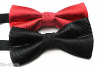 MENS BLACK RED FORMAL STRIPE BOW TIE SILK PRE-TIED  BOWTIE WEDDING FORMAL TIES