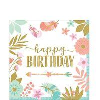 BOHO BIRTHDAY GIRL BEVERAGE SMALL NAPKINS PACK OF 16 BIRTHDAY PARTY SUPPLIES