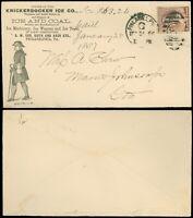 12/31/1886 NYE Cds, KNICKERBOCKER ICE CO, Ice & Coal Illust Advert Cover SC #210