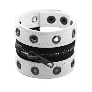 Men's Women's Punk Rock Black, Pink, or White Leather Zipper Hand Strap Bracelet