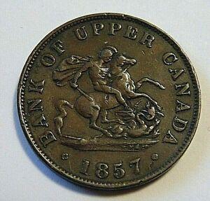1857 UPPER CANADA one half penny 1/2 cent copper bank token /l  I/