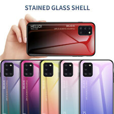 For Samsung Galaxy A71 5G A41 A70E A01 Gradient Tempered Glass Hard Case Cover
