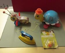 VINTAGE KIDS TOYS LOT FISHER PRICE WOODEN PULL TOY QUEEN BEE TURTLE IRON CHICK