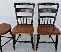 Vintage Pair of L Hitchcock Windsor Side Chairs Floral Stenciled (6 available)