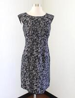Banana Republic Gray Black Abstract Linen Blend Cap Sleeve Dress Size 2 Sheath