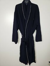 Polo Ralph Lauren Knit Bath Robe Blue White Piped With Belt L/XL EUC