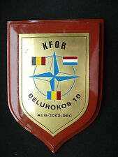 SIGNED WOODEN WALL PLAQUE KFOR -KOSOVO FORCE BELUROKOS 10.