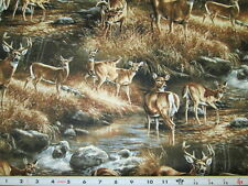 Deer in Wilderness Bucks & Does Fabric 100% Cotton - By the half-yard