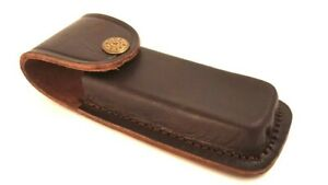 """5"""" Brown Leather Belt Sheath Case for Folding Knife such as Buck 110 or Schrade"""