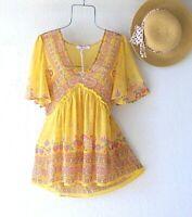 New~Sunshine Yellow Border Print Peasant Blouse Ruffle Summer Boho Top~Size XL