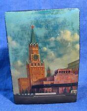 VINTAGE RUSSIAN LACQUER BOX FEDOSKINO SCHOOL w/ KREMLIN TOWER