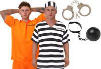 MENS PRISONER COSTUME ORANGE TOP TROUSERS CONVICT HALLOWEEN FANCY DRESS S-XXL