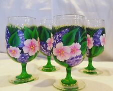Hand painted glass goblet set, pink and purple flowers, new, one of a kind