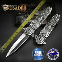 MiddleAge Crusader Knight Stiletto Dagger Knife Folding Hunting Flipper Pocket