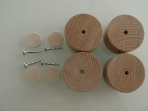 4 x Schrankfüße Sofafüsse Möbelfüße Holzfüße RUND Buche Höhe 4cm. Mit Schraube