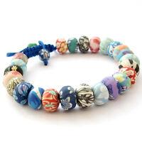 Polymer Clay Flowers Tibet Buddhist Prayer Beads Mala Bracelet
