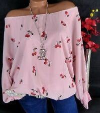 Bluse Carmen Italy Tunika Shirt Viskose doppellagig Kirschen Rosa 44 46