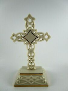 """Lenox Pierced Standing Cross Porcelain Ivory Color Gold Trim 4 5/8"""" New In Box"""