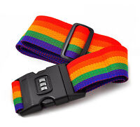NEW TRAVEL LUGGAGE SUITCASE STRAP BAGGAGE BACKPACK BAG RAINBOW COLOR BELT
