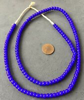 6mm Ghana African cobalt Blue White Heart glass African trade beads