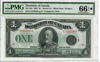 Canada Dominion $1 Banknote 1923 DC-25o PMG GEM UNC 66 EPQ STAR - Highest Grade