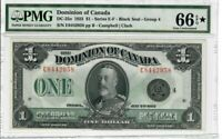 Canada Dominion $1 Banknote 1923 DC-25o PMG GEM UNC 66 EPQ STAR - Highest Grade