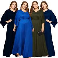 Plus Size Women Evening Party Maxi Long Dress Bat Sleeve V-neck Cocktail Gown