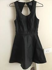 Ladies Black ALICE IN THE EVE Dress Size 6 Faux Leather LBD Cocktail Fitted Full