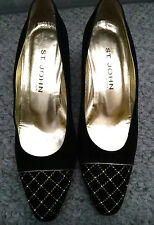 NORDSTROM's - St. John Black Leather 3 Inch Heel Pumps With Gold Trim, Size 9B