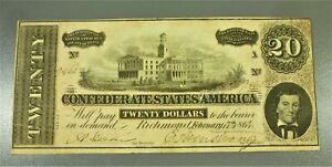 1864 $20 Confederate States of America Banknote AU