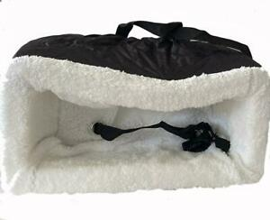 Dog Bed Carrier for Vehicle Center Console, Black/White, Straps, Harness & Clip