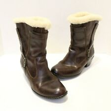 Born Danila Lamb Shearling Lined Brown Leather Winter Boots Sz 7.5 Bomber B70616