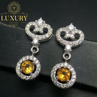 Natural Citrine 4x4mm Gems Solid 925 Sterling Silver Trendy Drop Earrings